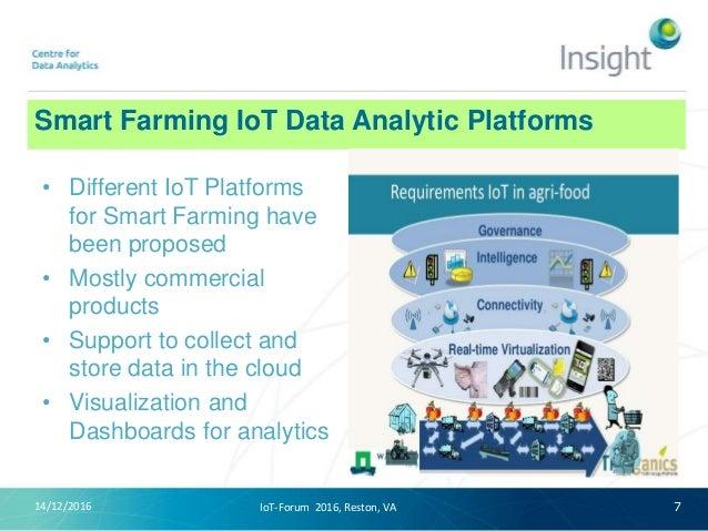 Smart Farming IoT Data Analytic Platforms 14/12/2016 7 • Different IoT Platforms for Smart Farming have been proposed • Mo...