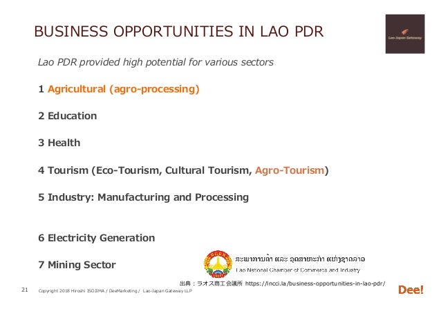Copyright 2018 Hiroshi ISOJIMA / DeeMarketing / Lao-Japan Gateway LLP BUSINESS OPPORTUNITIES IN LAO PDR Lao PDR provided h...
