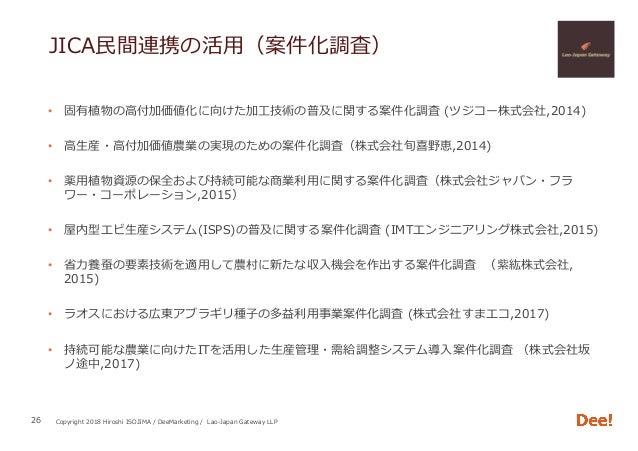 Copyright 2018 Hiroshi ISOJIMA / DeeMarketing / Lao-Japan Gateway LLP JICA⺠間連携の活⽤(案件化調査) • 固有植物の⾼付加価値化に向けた加⼯技術の普及に関する案件化調...