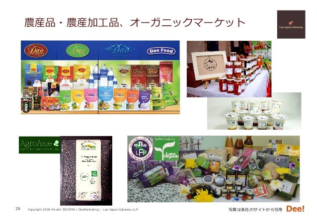 Copyright 2018 Hiroshi ISOJIMA / DeeMarketing / Lao-Japan Gateway LLP 農産品・農産加⼯品、オーガニックマーケット 28 写真は各社のサイトから引⽤