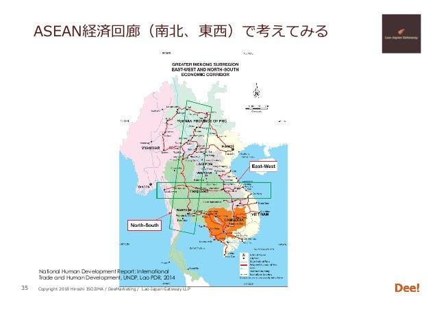 Copyright 2018 Hiroshi ISOJIMA / DeeMarketing / Lao-Japan Gateway LLP ASEAN経済回廊(南北、東⻄)で考えてみる 35 National Human Development...