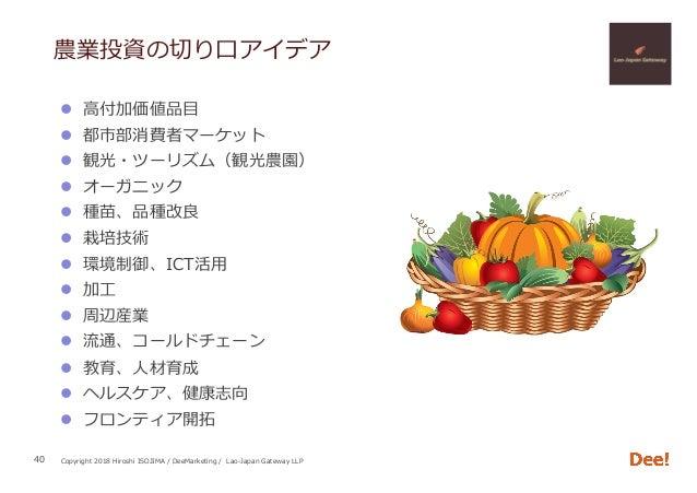 Copyright 2018 Hiroshi ISOJIMA / DeeMarketing / Lao-Japan Gateway LLP 農業投資の切り⼝アイデア l ⾼付加価値品⽬ l 都市部消費者マーケット l 観光・ツーリズム(観...