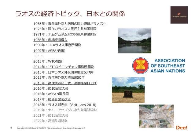 Copyright 2018 Hiroshi ISOJIMA / DeeMarketing / Lao-Japan Gateway LLP ラオスの経済トピック、⽇本との関係 1965年:⻘年海外協⼒隊初の協⼒隊員がラオスへ 1975年:現在の...