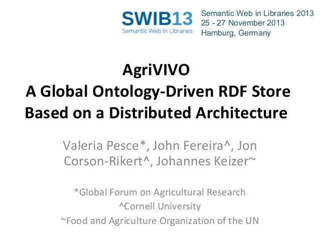 Semantic Web in Libraries 2013 25 - 27 November 2013 Hamburg, Germany  AgriVIVO A Global Ontology-Driven RDF Store Based o...