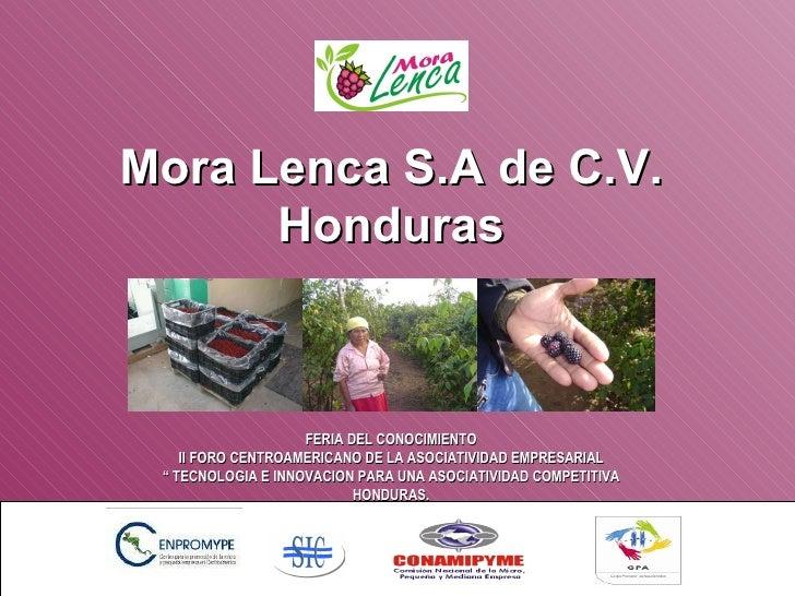"""Mora Lenca S.A de C.V. Honduras FERIA DEL CONOCIMIENTO II FORO CENTROAMERICANO DE LA ASOCIATIVIDAD EMPRESARIAL """"  TECNOLOG..."""
