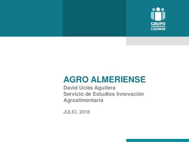 AGRO ALMERIENSE David Uclés Aguilera Servicio de Estudios Innovación Agroalimentaria JULIO, 2018