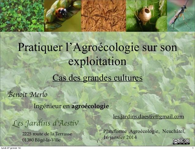 Pratiquer l'Agroécologie sur son exploitation Cas des grandes cultures Benoît Merlo Ingénieur en agroécologie les.jardins....
