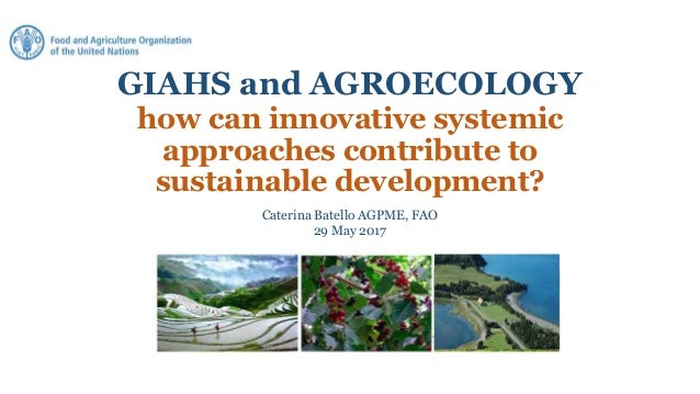 GIAHS and AGROECOLOGY how can innovative systemic approaches contribute to sustainable development? Caterina Batello AGPME...