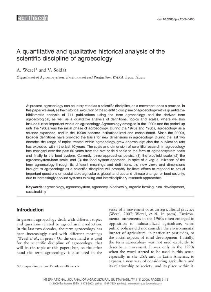 doi:10.3763/ijas.2009.0400A quantitative and qualitative historical analysis of thescientific discipline of agroecologyA. ...