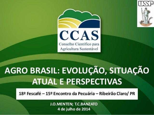 AGRO BRASIL: EVOLUÇÃO, SITUAÇÃO ATUAL E PERSPECTIVAS 18ª Fescafé – 15º Encontro da Pecuária – Ribeirão Claro/ PR J.O.MENTE...