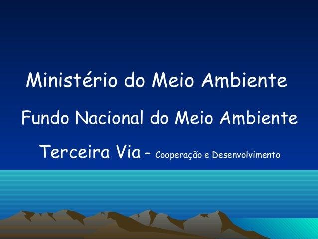 Ministério do Meio AmbienteFundo Nacional do Meio Ambiente Terceira Via – Cooperação e Desenvolvimento