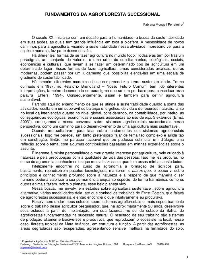 FUNDAMENTOS DA AGROFLORESTA SUCESSIONAL                                                                                   ...