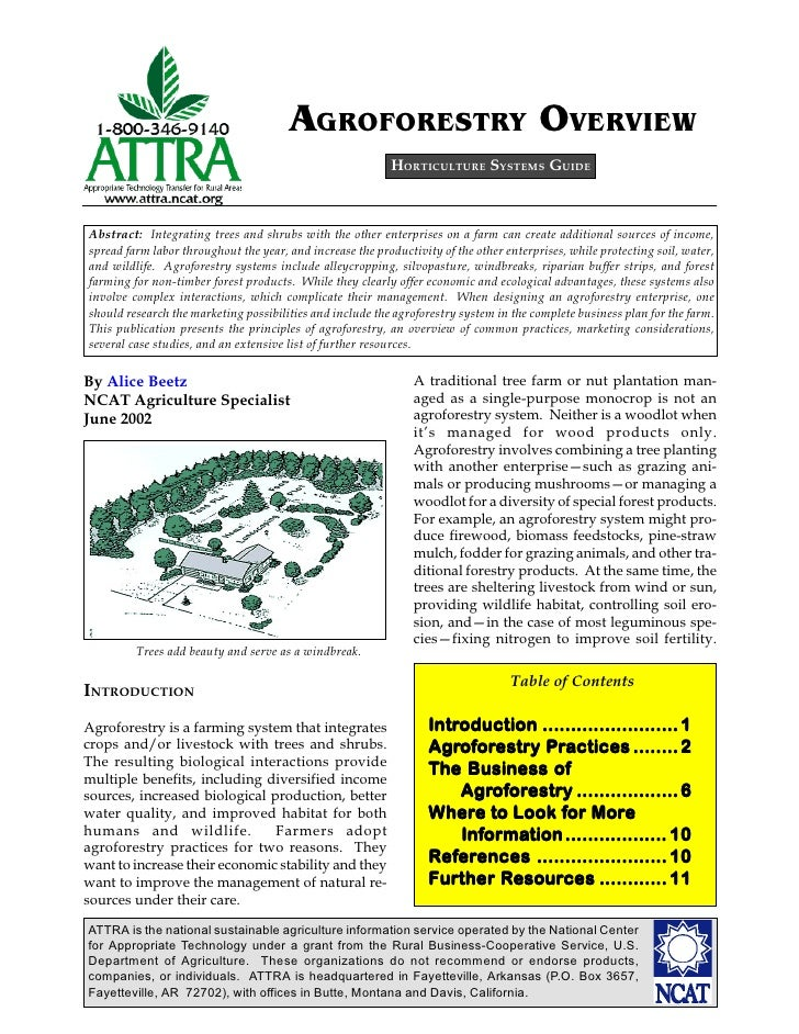 AGROFORESTRY OVERVIEW                                                           HORTICULTURE SYSTEMS GUIDEAbstract: Integr...