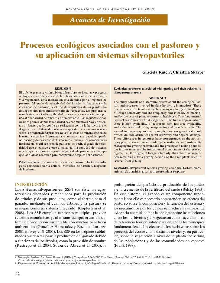 Agroforestería en las Américas Nº 47 2009                                                 Avances de Investigación        ...