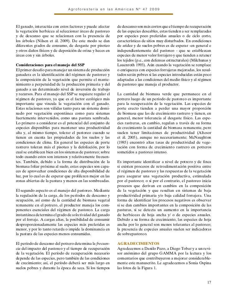 Agroforestería en las Américas Nº 47 2009El ganado, interactúa con estos factores y puede afectar     de descanso son más ...