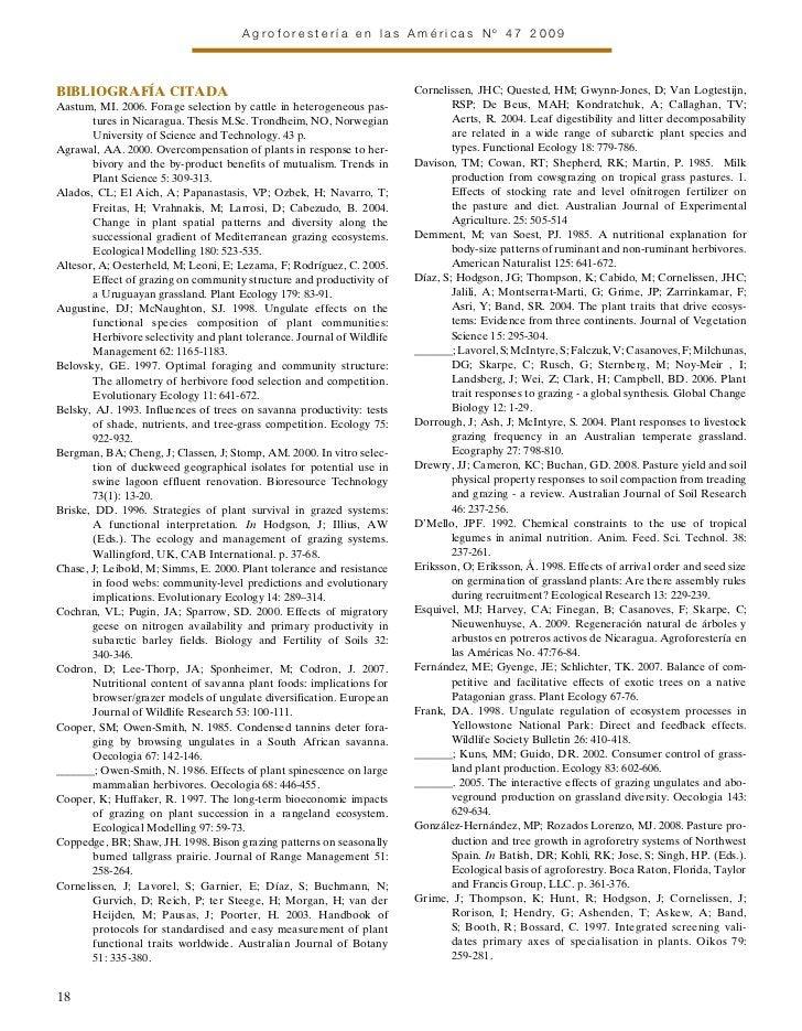 Agroforestería en las Américas Nº 47 2009BIBLIOgRAFÍA CITADA                                                      Cornelis...