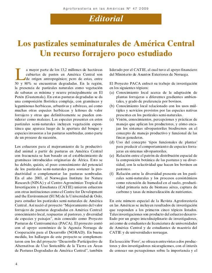 Agroforestería en las Américas Nº 47 2009                                     Editorial                             Public...
