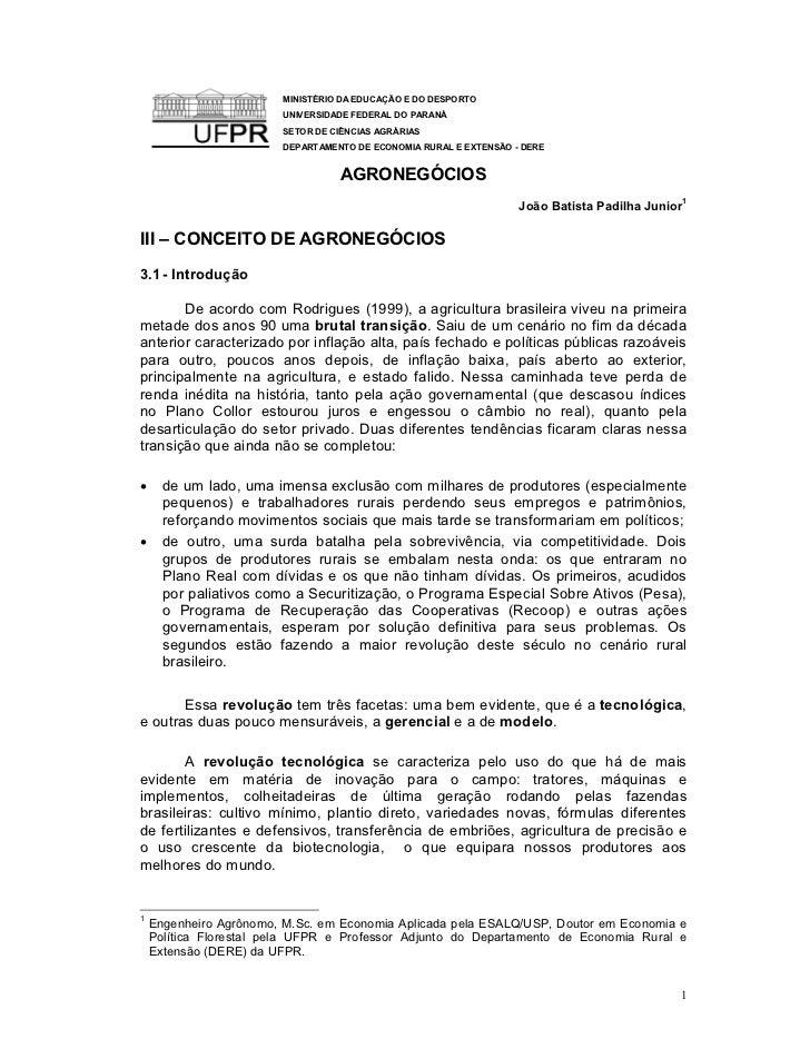 MINISTÉRIO DA EDUCAÇÃO E DO DESPORTO                        UNIVERSIDADE FEDERAL DO PARANÁ                        SETOR DE...
