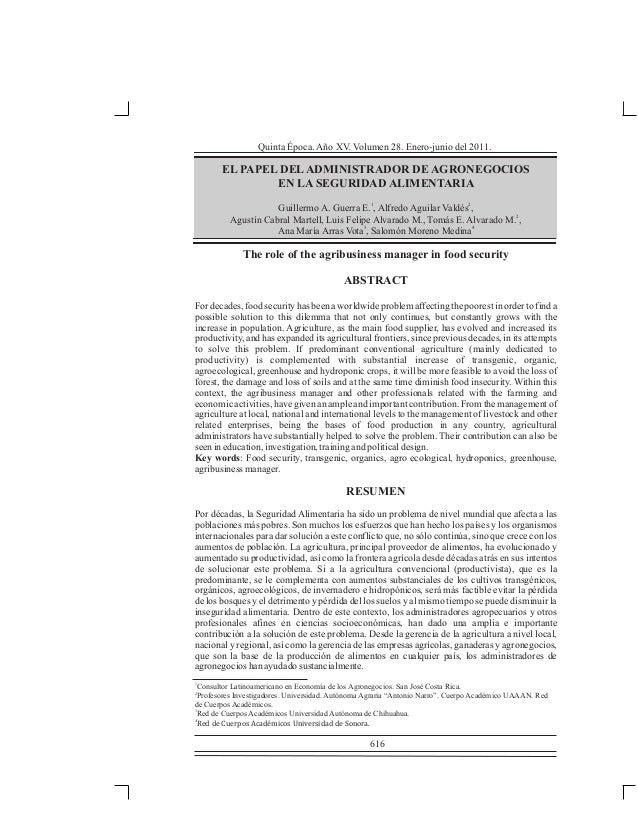 Quinta Época. Año XV. Volumen 28. Enero-junio del 2011.  EL PAPEL DEL ADMINISTRADOR DE AGRONEGOCIOS EN LA SEGURIDAD ALIMEN...