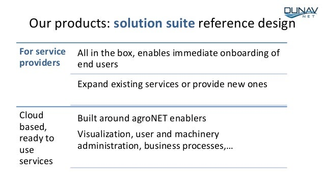 Our products: solution suite reference design For service providers All in the box, enables immediate onboarding of end us...