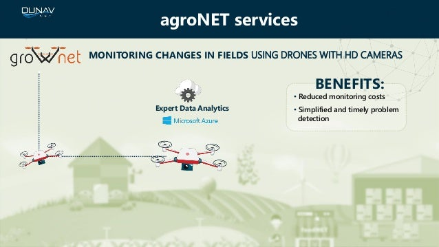 MONITORING CHANGES IN FIELDS USING DRONES WITH HD CAMERAS BENEFITS: • Reduced monitoring costs • Simplified and timely pro...