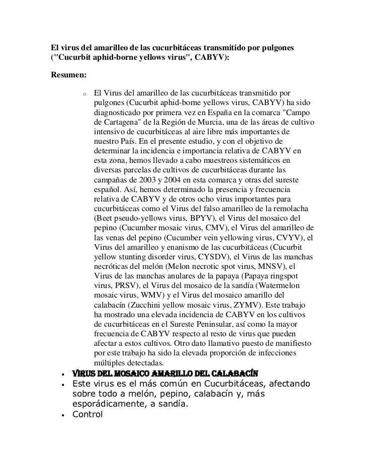 "El virus del amarilleo de las cucurbitáceas transmitido por pulgones(""Cucurbit aphid-borne yellows virus"", CABYV):Resumen:..."