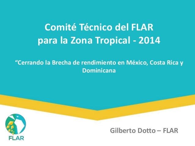 """Comité Técnico del FLAR  para la Zona Tropical - 2014  """"Cerrando la Brecha de rendimiento en México, Costa Rica y  Dominic..."""
