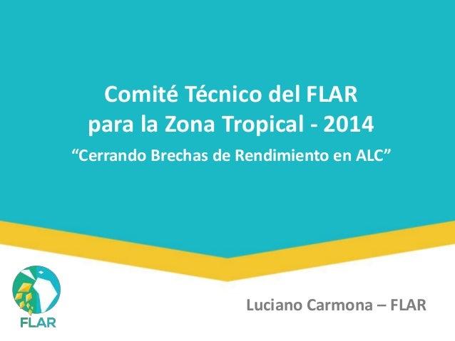 """Comité Técnico del FLAR  para la Zona Tropical - 2014  """"Cerrando Brechas de Rendimiento en ALC""""  Luciano Carmona – FLAR"""
