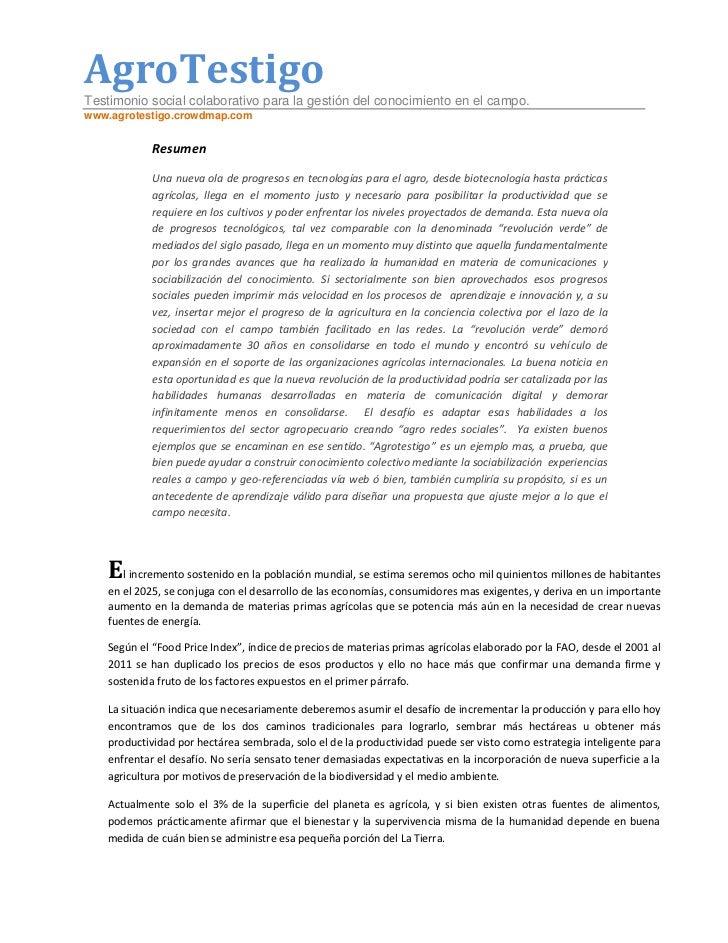 AgroTestigoTestimonio social colaborativo para la gestión del conocimiento en el campo.www.agrotestigo.crowdmap.com       ...