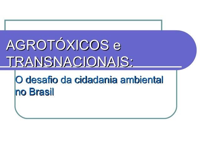 AGROTÓXICOS eAGROTÓXICOS e TRANSNACIONAIS:TRANSNACIONAIS: O desafio da cidadania ambientalO desafio da cidadania ambiental...