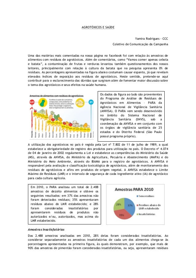 AGROTÓXICOS E SAÚDE                                                                          Yamira Rodrigues - CCC       ...