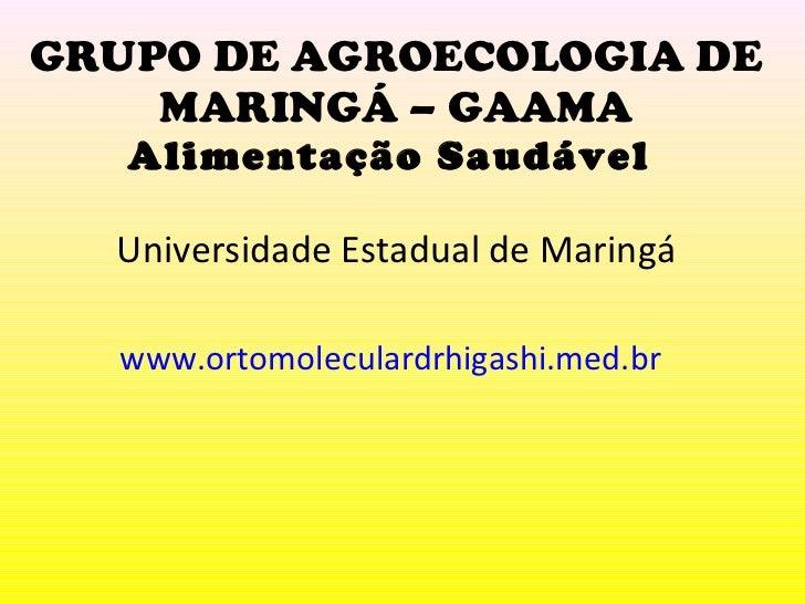 GRUPO DE AGROECOLOGIA DE MARINGÁ – GAAMA Alimentação Saudável  Universidade Estadual de Maringá www.ortomoleculardrhigashi...