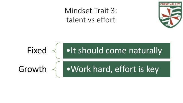 Mindset Trait 3: talent vs effort Fixed •It should come naturally Growth •Work hard, effort is key