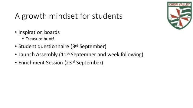 A growth mindset for students • Inspiration boards • Treasure hunt! • Student questionnaire (3rd September) • Launch Assem...