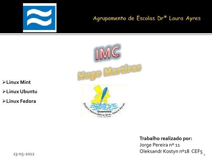 Linux MintLinux UbuntuLinux Fedora                 Trabalho realizado por:                 Jorge Pereira nº 11    23-05...