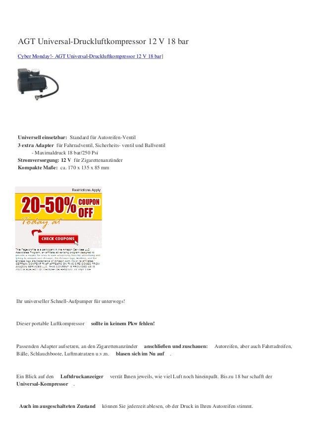 AGT Universal-Druckluftkompressor 12 V 18 barCyber Monday!- AGT Universal-Druckluftkompressor 12 V 18 bar]Universell einse...