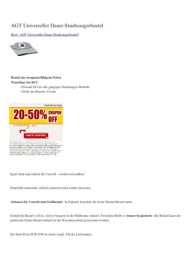 AGT Universeller Dauer-StaubsaugerbeutelBest!- AGT Universeller Dauer-Staubsaugerbeutel]Beutel aus strapazierfähigem Nylon...