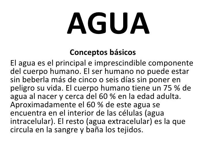 AGUA Conceptos básicos El agua es el principal e imprescindible componente del cuerpo humano. El ser humano no puede estar...