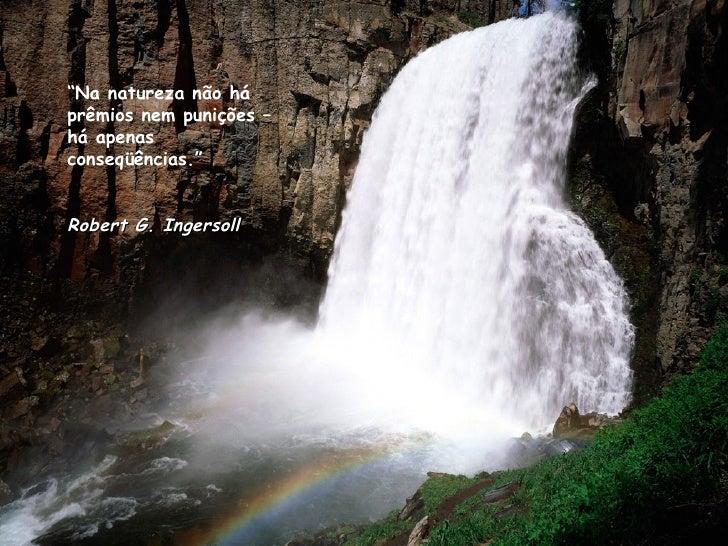 """"""" Na natureza não há prêmios nem punições – há apenas conseqüências."""" Robert G. Ingersoll"""