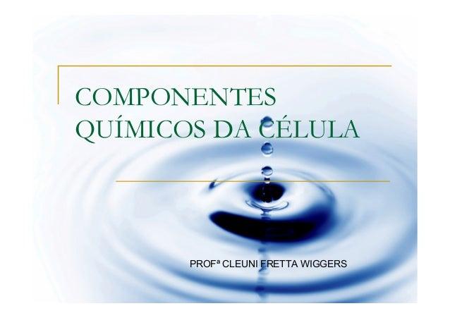 COMPONENTESQUÍMICOS DA CÉLULA       PROFª CLEUNI FRETTA WIGGERS