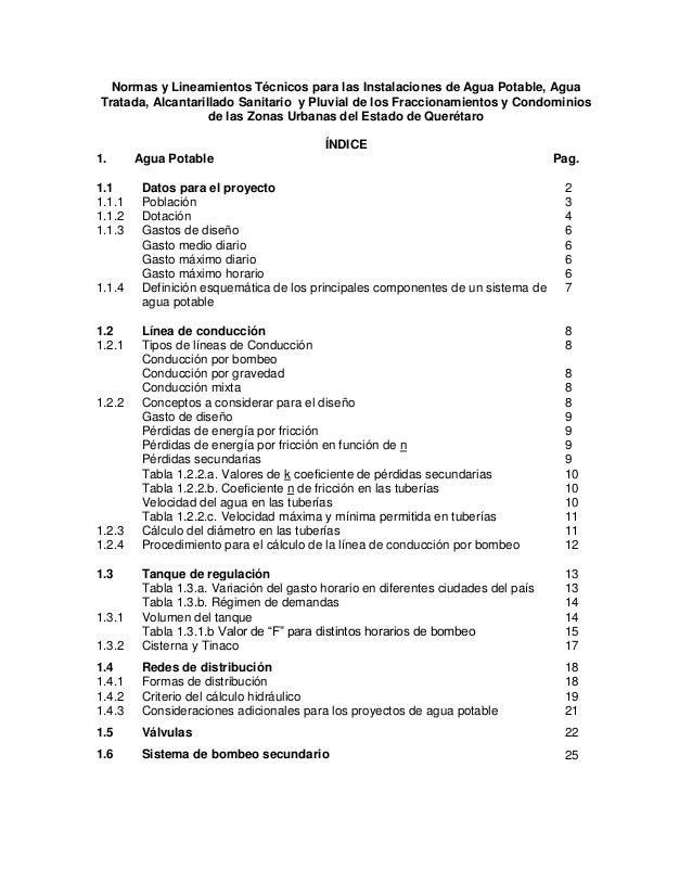 Normas y Lineamientos Técnicos para las Instalaciones de Agua Potable, Agua Tratada, Alcantarillado Sanitario y Pluvial de...