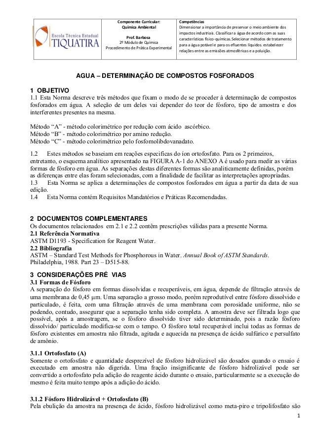 Componente Curricular: Química Ambiental Prof. Barbosa 2º Módulo de Química Procedimento de Prática Experimental Competênc...