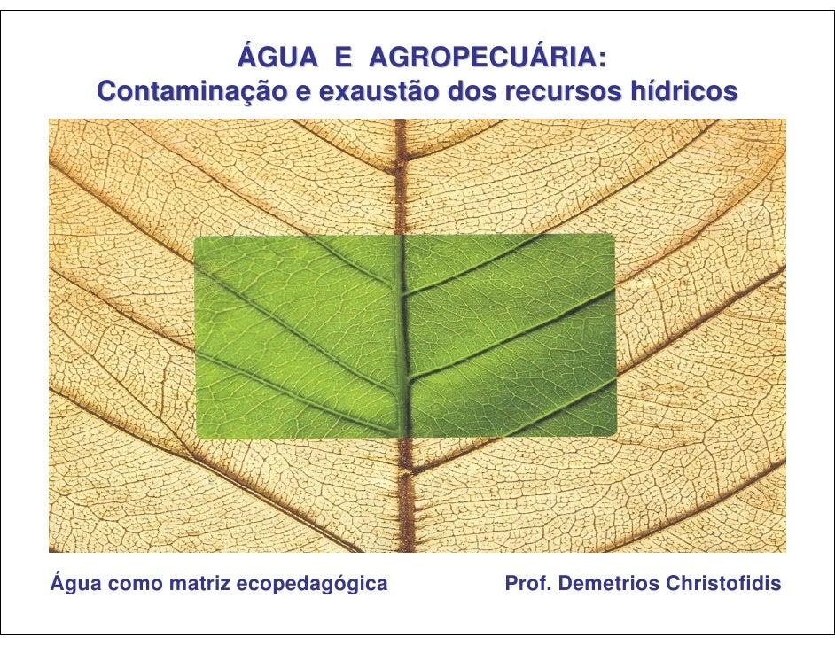 ÁGUA E AGROPECUÁRIA:     Contaminação e exaustão dos recursos hídricos     Água como matriz ecopedagógica   Prof. Demetrio...