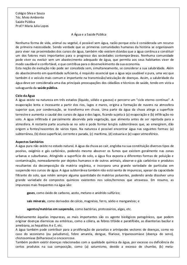 Colégio Silva e Souza Téc. Meio Ambiente Saúde Pública Prof.ª Maria Julia Lopes A Água e a Saúde Pública Nenhuma forma de ...