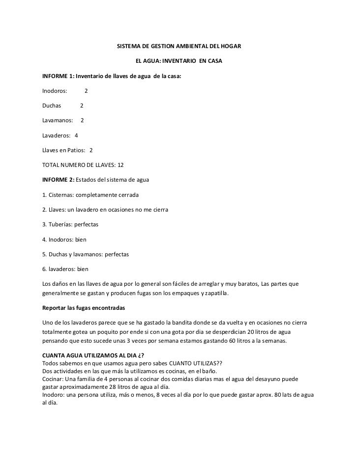 SISTEMA DE GESTION AMBIENTAL DEL HOGAR                                    EL AGUA: INVENTARIO EN CASAINFORME 1: Inventario...