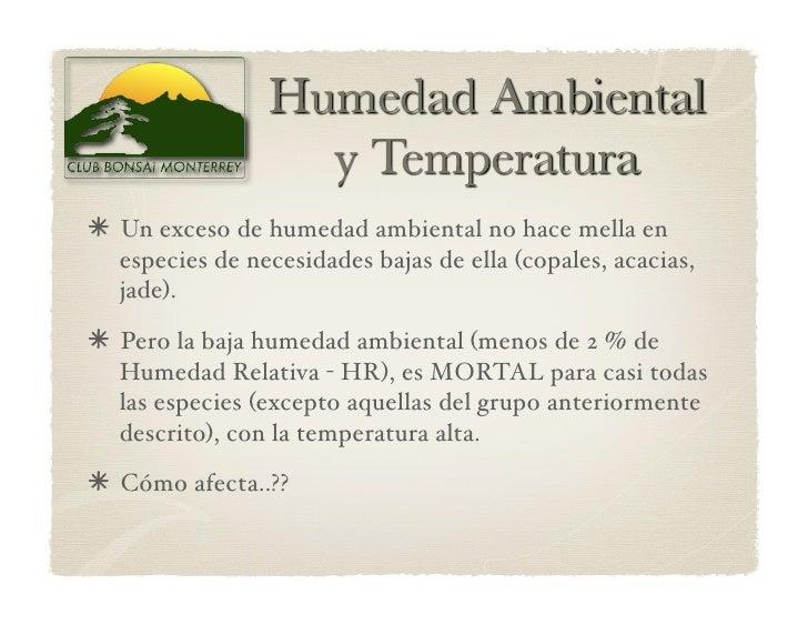Un exceso de humedad ambiental no hace mella en   especies de necesidades bajas de ella (copales, acacias,   jade).  P...