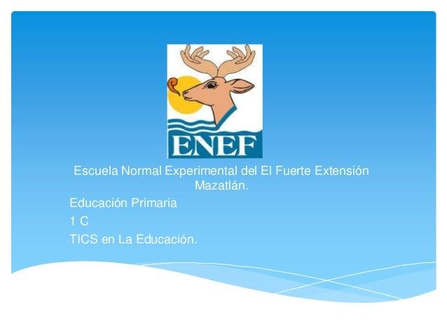 Escuela Normal Experimental del El Fuerte Extensión                    Mazatlán.Educación Primaria1CTICS en La Educación.