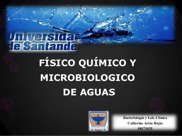 Bacteriología y Lab. Clinico Catherine Ariza Rojas 08171025 FÍSICO QUÍMICO Y MICROBIOLOGICO DE AGUAS