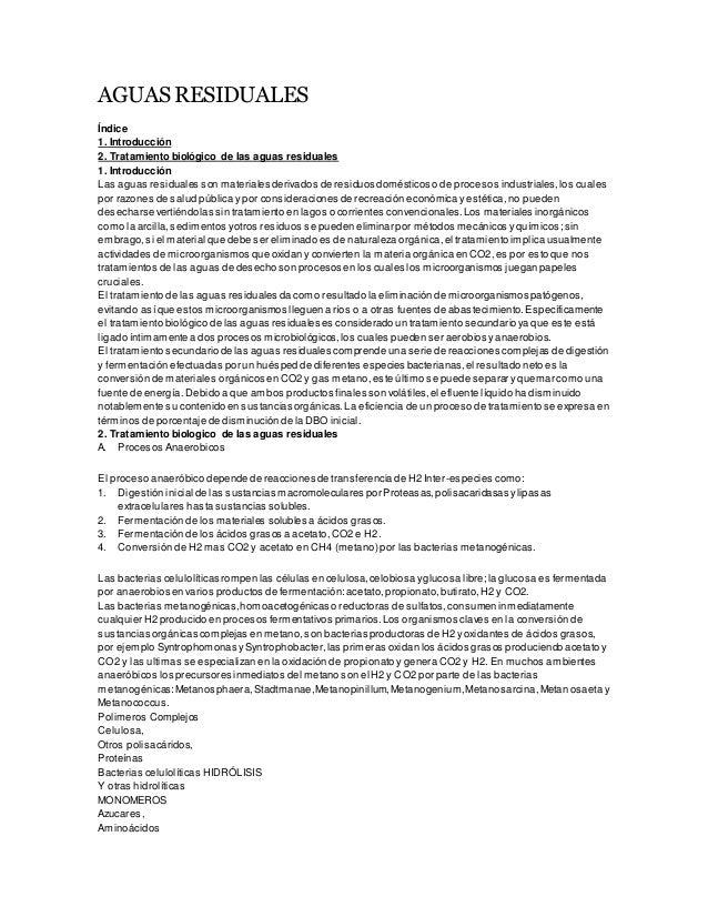AGUAS RESIDUALES Índice 1. Introducción 2. Tratamiento biológico de las aguas residuales 1. Introducción Las aguas residua...