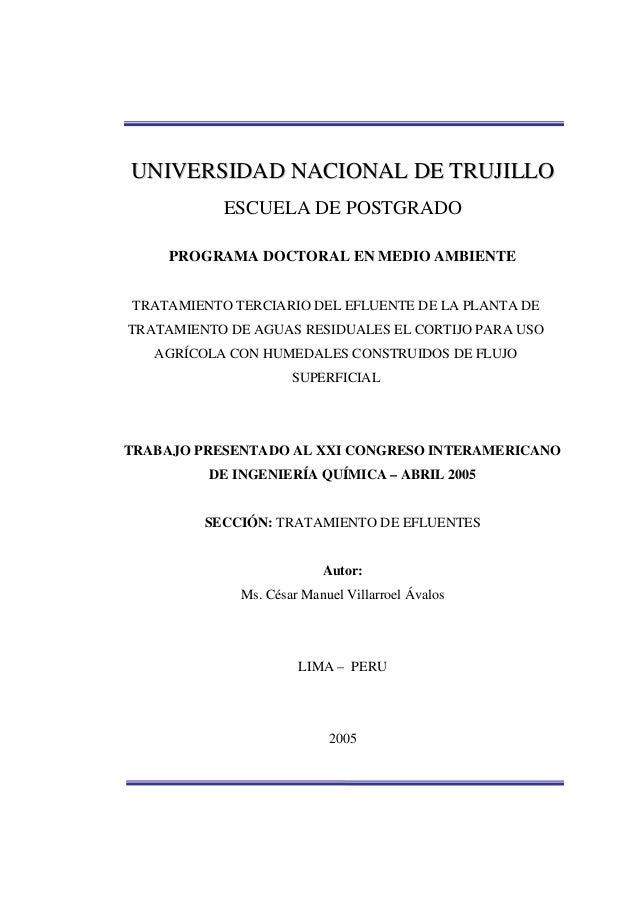 UUNNIIVVEERRSSIIDDAADD NNAACCIIOONNAALL DDEE TTRRUUJJIILLLLOO ESCUELA DE POSTGRADO PROGRAMA DOCTORAL EN MEDIO AMBIENTE TRA...